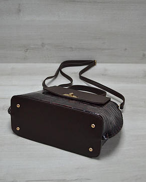 Молодежная женская сумка-клатч коричневый лаковый крокодил из кожзама 61410, фото 2