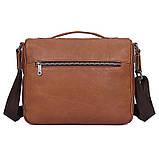 Удобная мужская кожаная сумка коричневая 1019B, фото 2