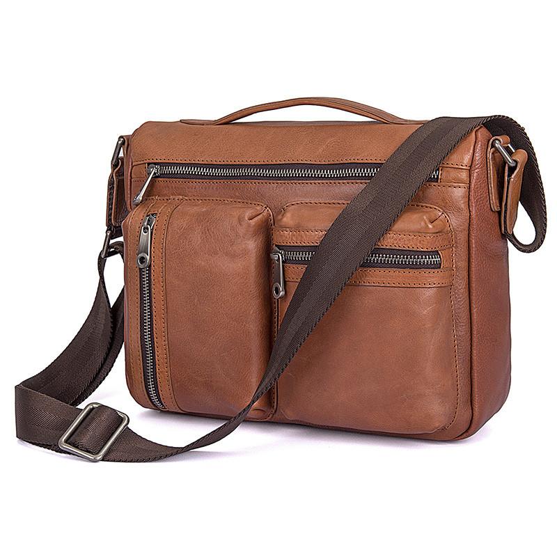 Удобная мужская кожаная сумка коричневая 1019B