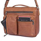 Удобная мужская кожаная сумка коричневая 1019B, фото 6