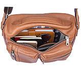 Удобная мужская кожаная сумка коричневая 1019B, фото 8