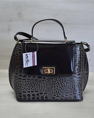 Молодежная женская сумка-клатч серый крокодил с черным гладким кожзамом 61406, фото 2