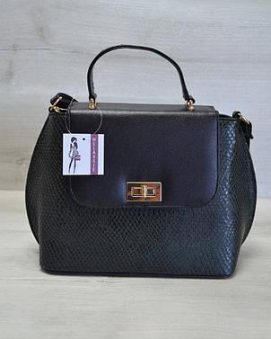 Молодежная женская сумка-клатч зеленая змея с черным гладким кожзамом 61404, фото 2