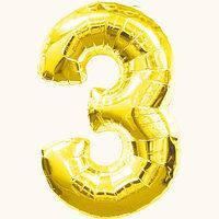 """28"""" Цифра """"3"""" (70-80 см) золото Китай шар фольгированный"""