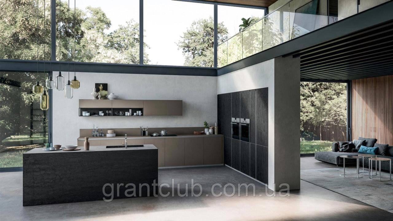 Сучасна італійська кухня без ручок і фасадом з керамограніта T16 фабрика Armony Cucine