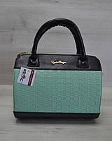 Молодежная женская сумка Плетенка ментол с черным гладким кожзамом 52104