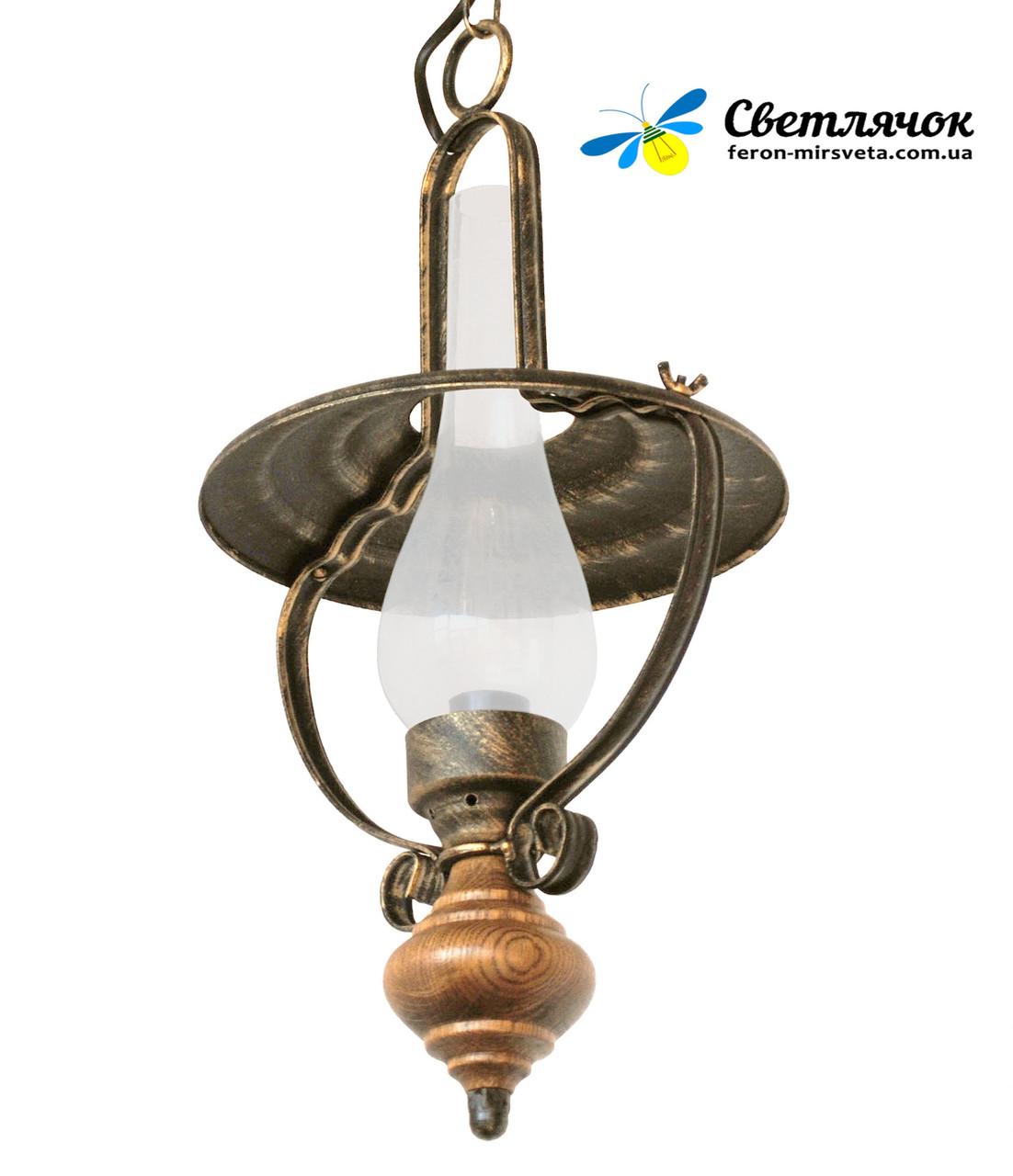 """Подвес деревянный """"Керосинка"""" старая бронза на 1 лампу"""