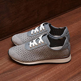 80137| Женские кроссовки классические на светлой подошве. Серые из натуральной замши с перфорацией