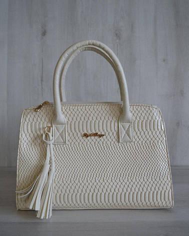 Молодежная каркасная женская сумка бежевого цвета 52001, фото 2