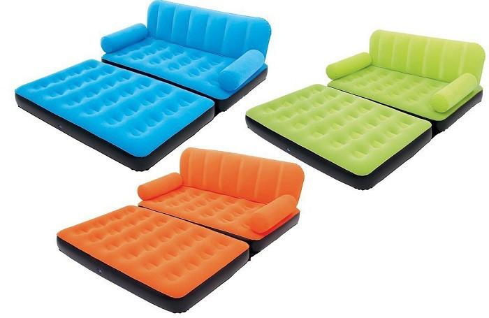 Надувной диван трансформер велюровый Bestway 67356 с электронасосом