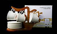 """Подарочный Кофейный Набор """"Naturel"""" 6 Чашек 100мл И 6 Блюдец На Бамбуковой Подставке"""