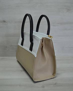 Молодежная каркасная женская сумка кофейная комбинированная 52009, фото 2