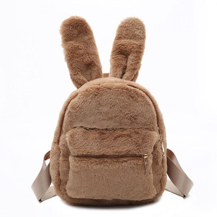 Меховой женский рюкзак Bobby Bunny коричневый eps-8014