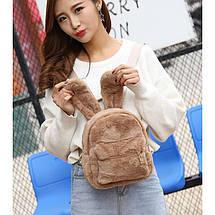 Меховой женский рюкзак Bobby Bunny коричневый eps-8014, фото 2