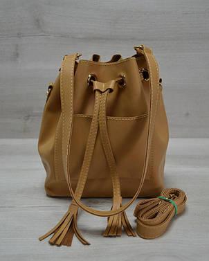 Молодежная женская сумка из эко-кожи Люверс светло рыжего цвета 23102, фото 2