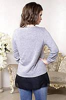 Женская кофта из вискозы с добавлением ангоры рукав 3/4 серого цвета. Арт-6017/93