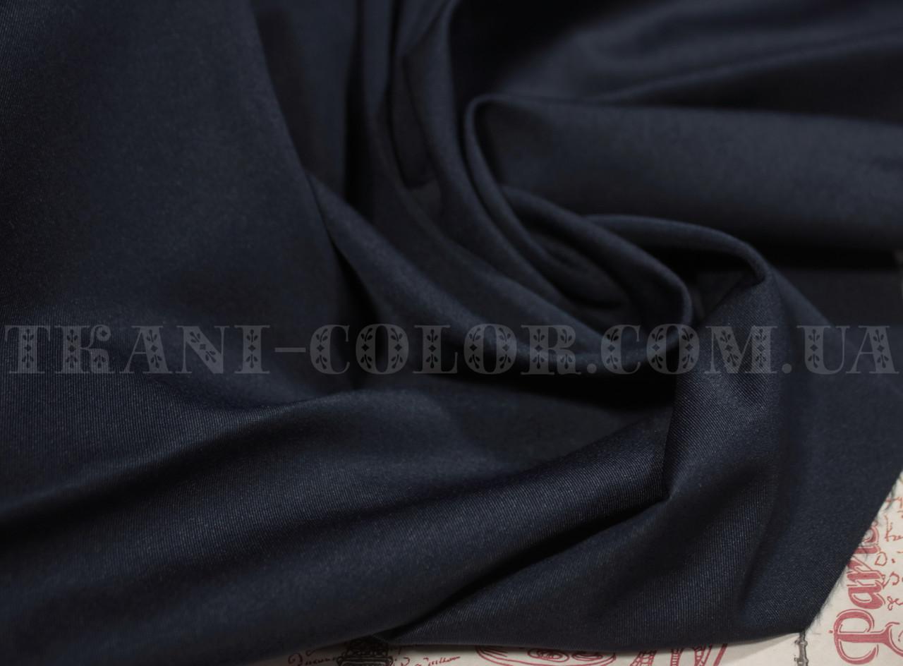 Костюмная ткань коттон мемори темно-синий