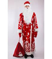 Костюм Деда Мороза со снежинками (взрослый), купить костюм карнавальный оптом и в розницу MK 1408 KRK-0005