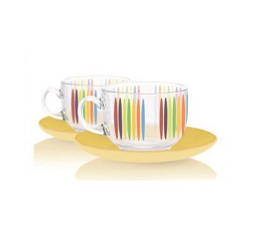 Чайный набор на 6 персон FIZZ с прозрачным блюдцем