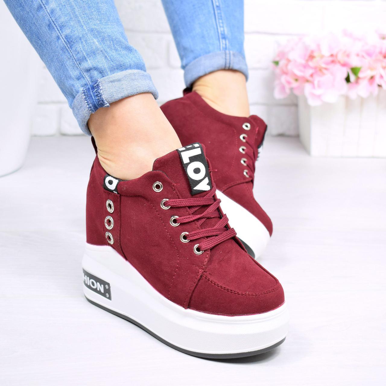 Купить Кроссовок женский на платформе Malic бордо женскую обувь по ... 2b1f0169c9e