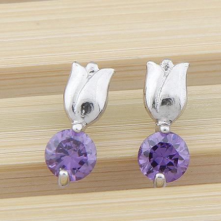 Серьги гвоздики Тюльпаны с аметистовым кристаллом S004745