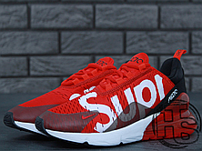 Женские кроссовки реплика Nike Air Max 270 Flyknit x Supreme Red/White, фото 3