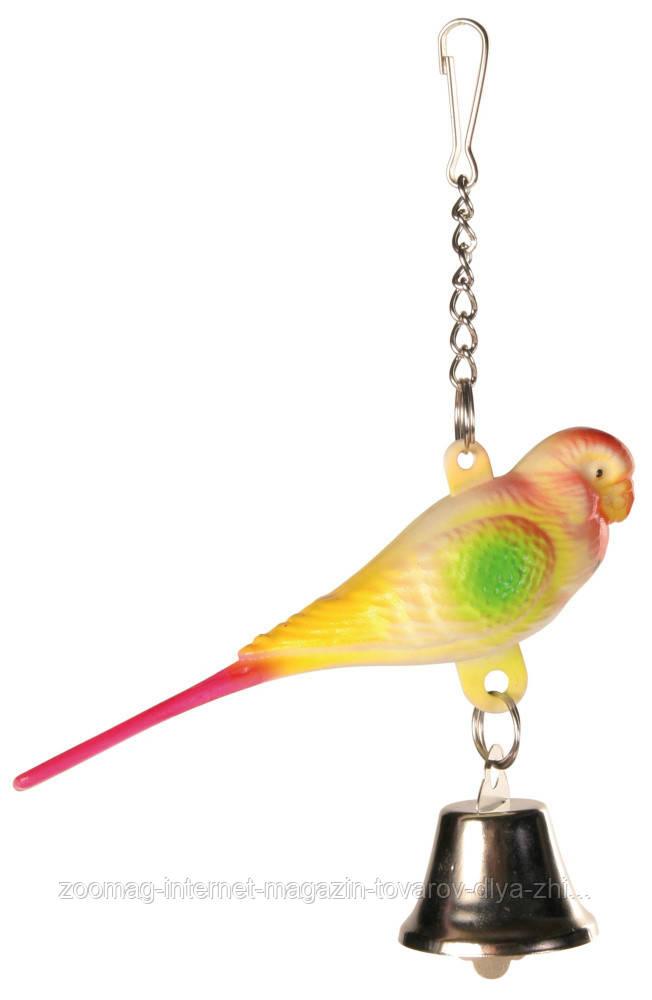 """Игрушка для попугая """"Попугайчик с колокольчиком"""" 9см, Trixie"""