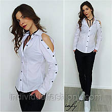 Женская рубашка с вырезами на плечах