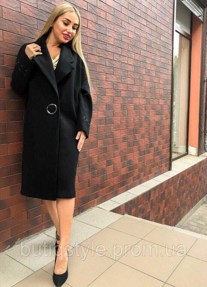 Стильное удлиненное женское пальто кашемир на кнопке цвет только черный