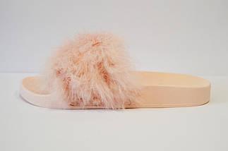Шлепанцы со страусиным мехом пудра Sopra 07, фото 2