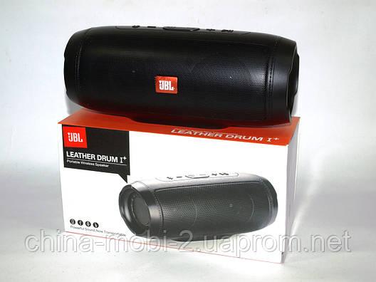 Беспроводная колонка JBL LEATHER DRUM I+ 10W с FM Bluetooth AUX MP3 USB microSD Powerbank, копия черная, фото 2
