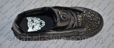 Кеди на товстій підошві жіночі Phi1ipp P1ein прикрашені стразами еко-шкіра сірого кольору Код 1331, фото 2
