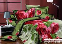 Комплект постельного белья 2-спальный сатин Розы с компаньоном