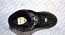 Криперсы на товстій підошві Phi1ipp P1ein прикрашені стразами еко-шкіра чорного кольору Код 1335, фото 3
