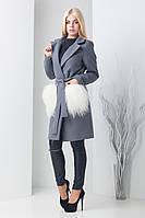 Женское кашемировое пальто с меховыми карманами Банш розовый, т.серый (42-46) без капюшона, карманы мех, 42-46, 42-46, Новое, отложной, накладной,