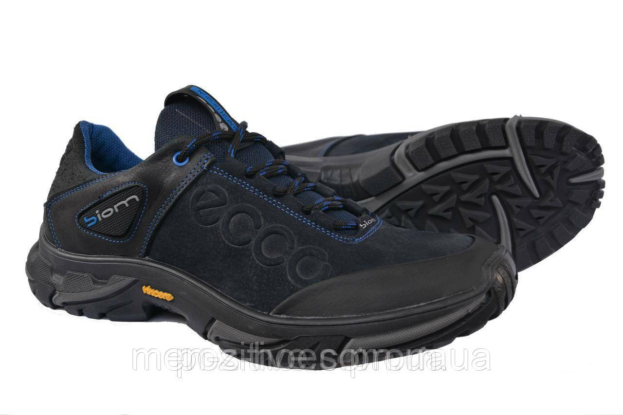 Мужские кроссовки Ессо Blue кожаные спортивные туфли