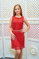 Подростковое платье-футляр Анита для девочки р.134-152 красный Д