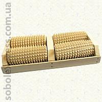 Массажер деревянный роликовый для ног 50-07