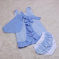 Летнее платье с трусиками рюша Пироженка (голубое)