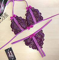 Откровенное женское белье комплект лиф и стринги с разрезами. Размеры от XS до XXL