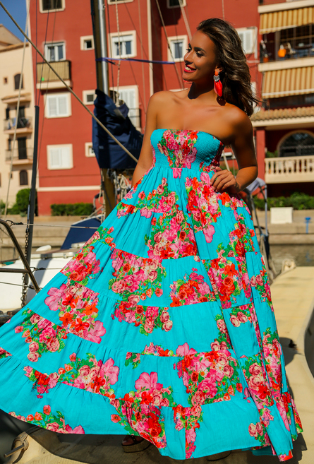 Новинки 2018 Платье бандо бюстье из хлопка Indiano, AnastaSea 559A