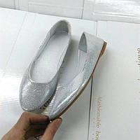 Женские балетки ALLURE натуральная кожа серебро 0142АЛМ