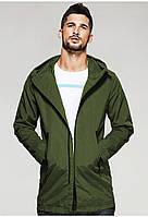 Мужская куртка ветровка с капюшоном оливкового цвета