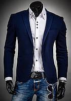 Мужской пиджак на одну пуговицу с вставками из кожи на локтях