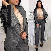 Костюм модный женский с лампасами пиджак и брюки трикотаж 2 расцветки Dok783, фото 1