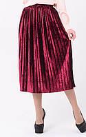 Плиссированная юбка миди из мраморного велюра 451130