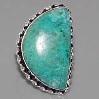 Кольцо с камнем хризоколла в серебре. Природная хризоколла. Индия!, фото 1