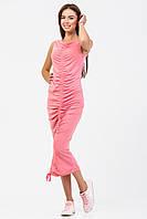Сарафан с присборкой из розового меланжевого трикотажа, фото 1