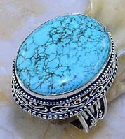 Бирюза кольцо с натуральной бирюзой в серебре 18-18.3 размер, фото 1