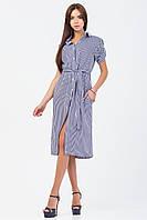 Платье-рубашка в темно-синюю полоску